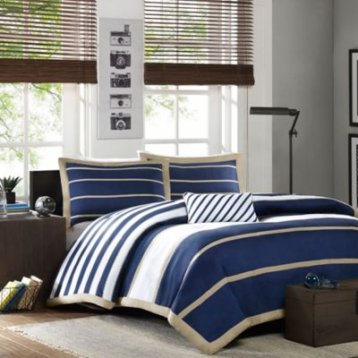 Navy Blue Patterned Duvet Cover
