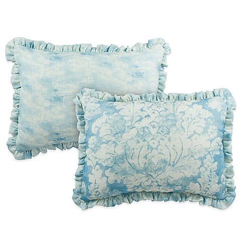 Pacific Blue Throw Pillows : Sherry Kline Florenza Reversible Boudoir Throw Pillow in Pacific Blue - Bed Bath & Beyond
