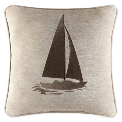 J. Queen New York Newport Sailboat Square Throw Pillow