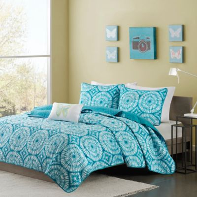 Mizone Nia Full/Queen Coverlet Set in Teal