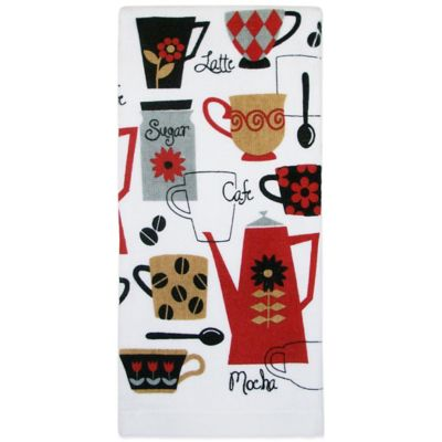 Retro Café Print Kitchen Towel