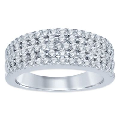 10K White Gold 1.0 cttw Diamond Size 5 Ladies' Multi-Row Band