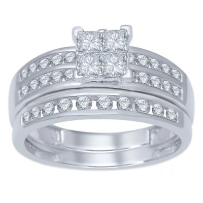 10K White Gold 1.0 cttw Invisible Setting Princess-Cut Diamond Size 8.5 Ladies' Bridal Set