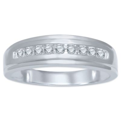 10K White Gold .20 cttw Channel-Set Diamond Size 10 Men's Wedding Band