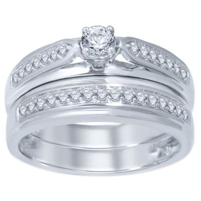 10K White Gold .50 cttw Round-Cut Diamond Size 5 Ladies' Bridal Set