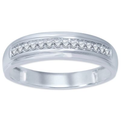 10K White Gold .20 cttw Prong-Set Diamond Size 11 Men's Wedding Band