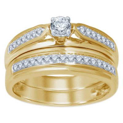 10K Yellow Gold .50 cttw Round-Cut Diamond Size 5 Ladies' Bridal Set