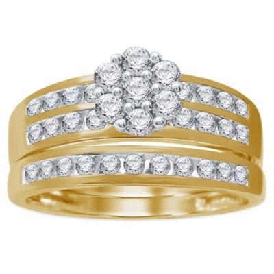 10K Yellow Gold .87 cttw Diamond Size 5 Ladies' Flower Bridal Set