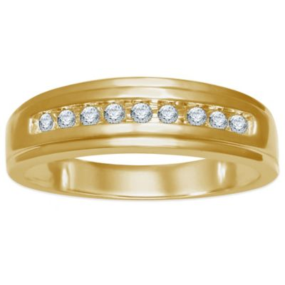 10K Yellow Gold .20 cttw Channel-Set Diamond Size 11 Men's Wedding Band