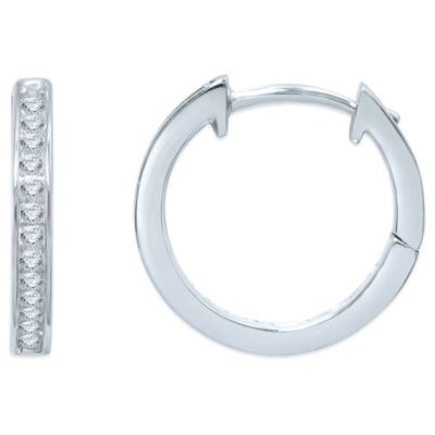 10K White Gold .10 cttw Diamond Hoop Earrings
