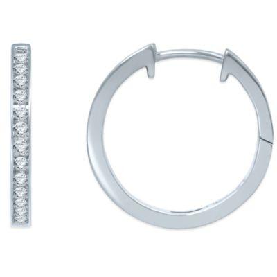 10K White Gold .50 cttw Diamond Hoop Earrings