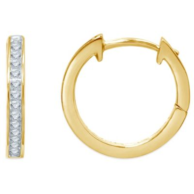 10K Yellow Gold .10 cttw Diamond Hoop Earrings
