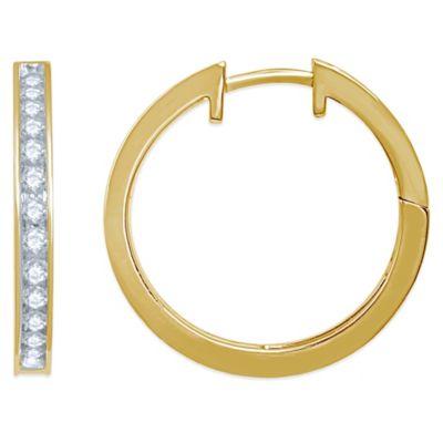 10K Yellow Gold .50 cttw Diamond Hoop Earrings