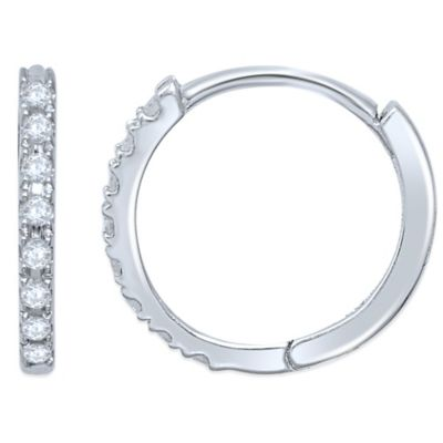 10K White Gold .33 cttw Diamond Hoop Earrings