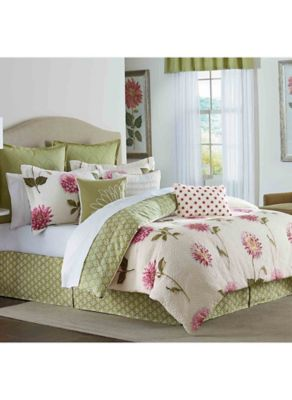 Bridge Street Spring Dahlia European Pillow Sham in Green