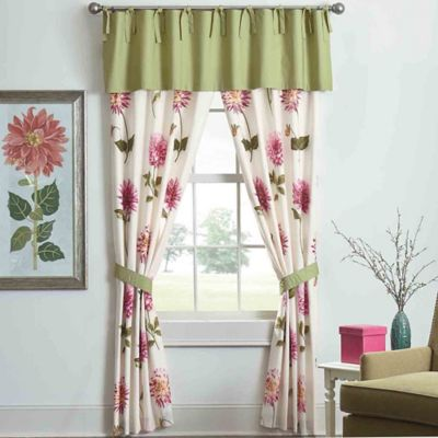 Bridge Street Spring Dahlia 84-Inch Window Panel Pair in Fuchsia