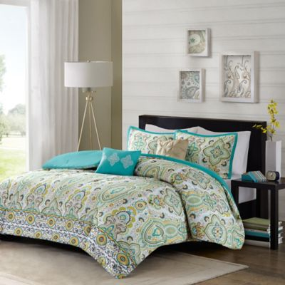 Intelligent Design Tasia 5-Piece Full/Queen Duvet Cover Set in Green