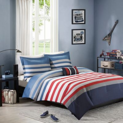 Mizone Kyle Twin/Twin XL Comforter Set in Red/Blue