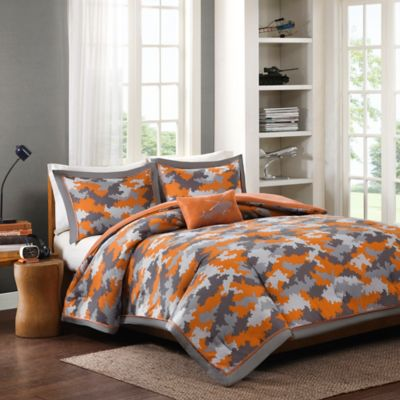 Mizone Lance Full/Queen Comforter Set in Orange