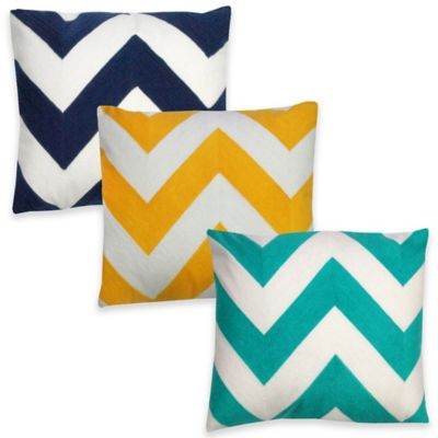 Chevron Oblong Throw Pillow in Teal