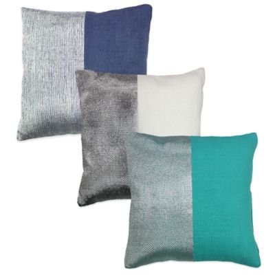 Two-Tone Square Throw Pillow in Teal