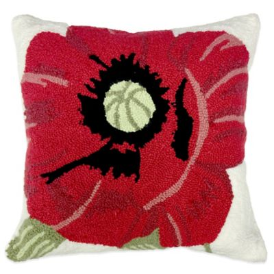 Hooked Poppy Throw Pillow in Red