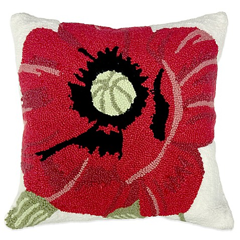 Red Throw Pillow For Bed : Hooked Poppy Throw Pillow in Red - Bed Bath & Beyond