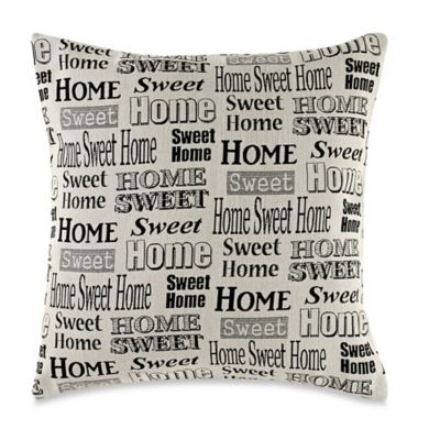 MYOP Home Sweet Home Square Throw Pillow Cover in Black/Ivory