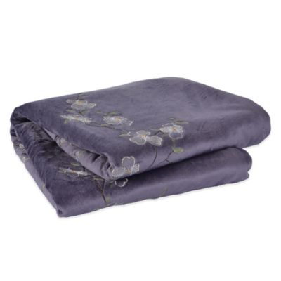 Berkshire Blanket® Design Décor Dogwood Floral Embroidered Throw in Purple