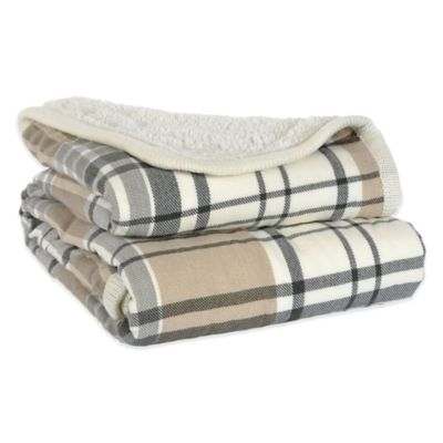 Menswear Reversible Sherpa Throw in Sturbridge Plaid