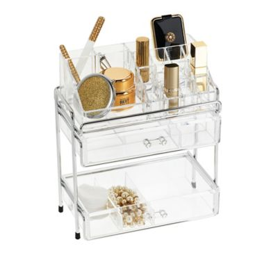 Multi-Level Acrylic Cosmetic Organizer in Clear/Chrome