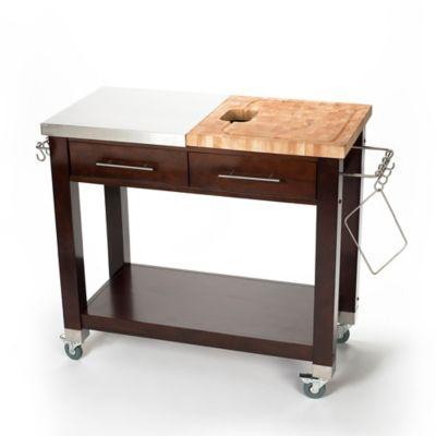Chris & Chris Pro Chef Kitchen Island Work Station in Espresso