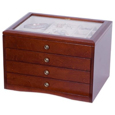 Mele & Co. Tory Glass Top Wooden Jewelry Box in Walnut