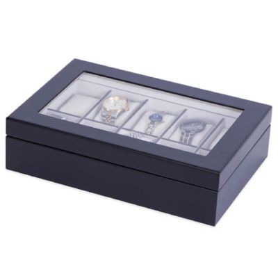 Mele & Co. Tory Glass Top Wooden Watch Box in Java