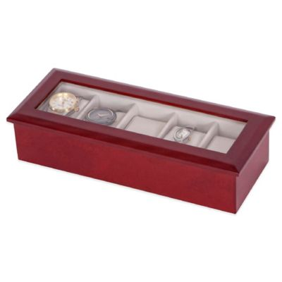 Mele & Co. Tory Glass Top Wooden Watch Box in Cherry