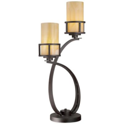 Quoizel Kyle 2-Light Table Lamp in Bronze with Onyx Shade