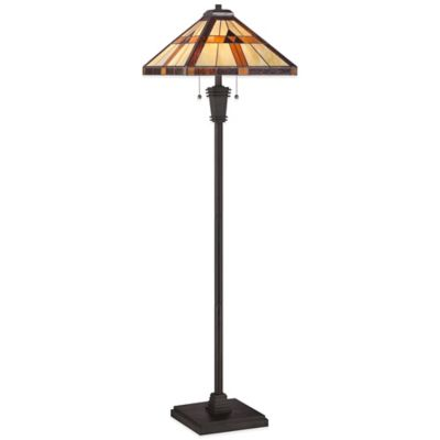 Quoizel Tiffany 2-Light Bryant Floor Lamp in Black with Glass Shade