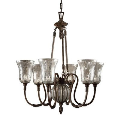 Uttermost Galeana 6-Light Ceiling-Mount Iron Chandelier in Brown