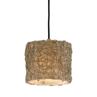 Uttermost Knotted Rattan Ceiling-Mount Mini Drum Pendant in Brown