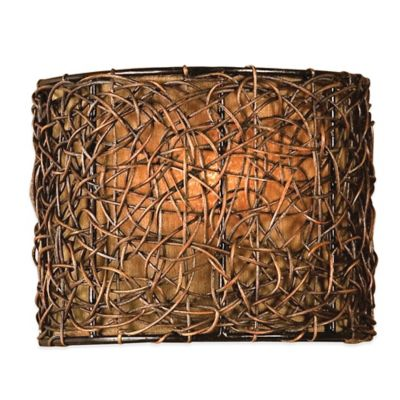 Uttermost Knotted Rattan Ceiling-Mount Wall Sconce in Espresso