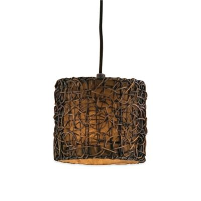 Uttermost Knotted Rattan 1-Light Ceiling-Mount Drum Pendant in Espresso