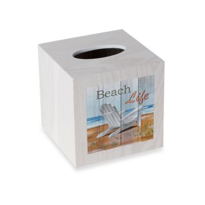 Beachtime Wood Boutique Tissue Box Cover