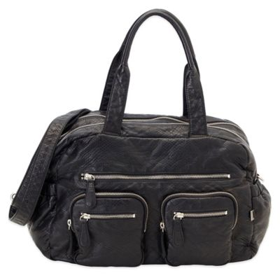 OiOi® Faux Lizard Carry-All Diaper Bag in Black