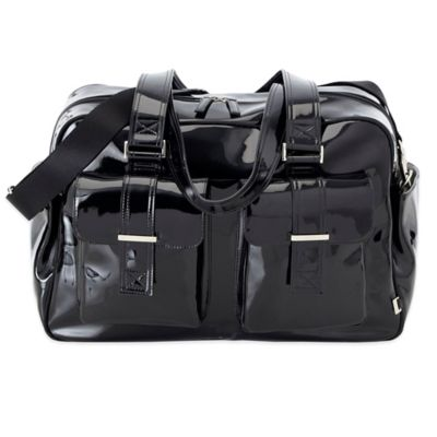 OiOi® Patent Carry-All Diaper Bag in Black with Zebra Lining