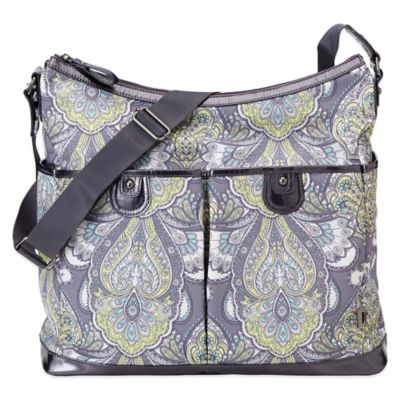 OiOi® Baroque Patent Trim Hobo Diaper Bag in Paisley