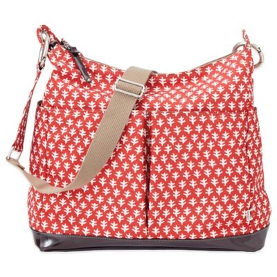 OiOi® Mini Geo 2-Pocket Hobo Diaper Bag in Poppy Red