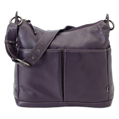 OiOi® Leather 2 Pocket Hobo Diaper Bag in Plum