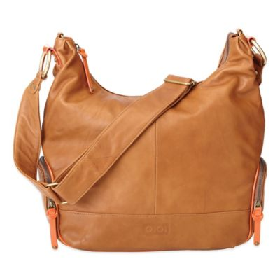 OiOi® Leather Hobo Diaper Bag in Tan/Orange