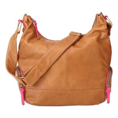 OiOi® Leather Hobo Diaper Bag in Tan/Pink