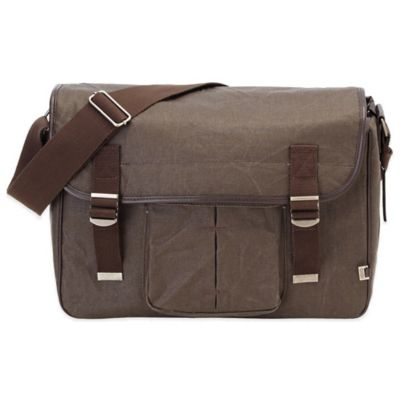 OiOi® Crushed Canvas Satchel in Chocolate